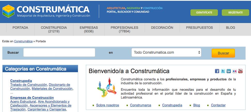 Detalle de la Home de la web Construmática